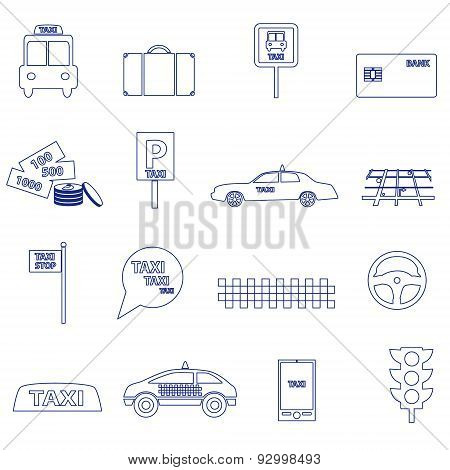 Simple Taxi Blue Outline Icons Set Eps10