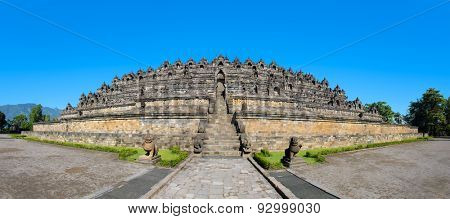 Panorama Buddist temple Borobudur complex in Yogjakarta in Java, Indonesia