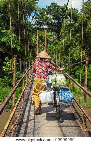 Indonesian woman in traditional hat carrying bags on her bicycle across the bridge