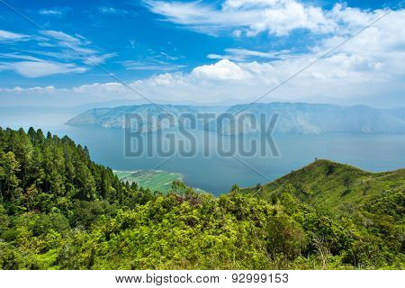 Lake toba or danau toba in North Sumatra, Indonesia