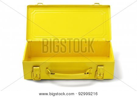 Empty Yellow Tool Box on White Background