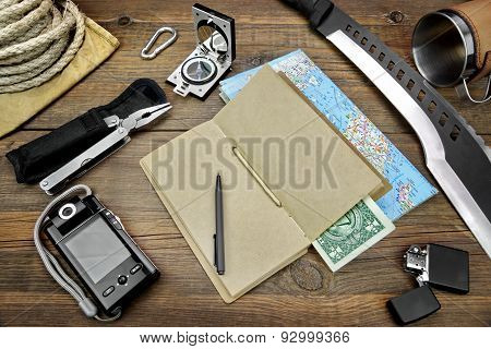 Desktop With Large Group Of  Objects For Travel, Expedition, Exploration
