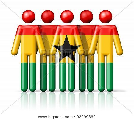 Flag Of Ghana On Stick Figure
