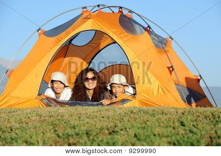 Happy Family Camping