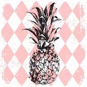 stock photo of rhombus  - hand drawn pineapple on rhombus background - JPG