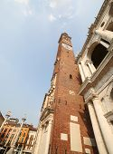 stock photo of vicenza  - high clock tower of the Palladian Basilica in Vicenza city - JPG