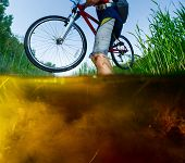 foto of swamps  - Underwater split shot of the athlete with dirty clothes crossing the swamp - JPG