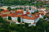 stock photo of bohemia  - Strahov Monastery in Praque view from Petrin.The oldest Premonstratensian monastery in Bohemia ** Note: Soft Focus at 100%, best at smaller sizes - JPG