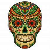 stock photo of mexican  - Print mexican traditional scull with floral ornament - JPG