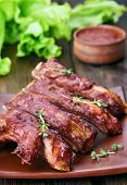 picture of ribs  - Delicious grilled pork ribs close up view - JPG