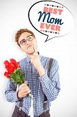 stock photo of bunch roses  - Geeky hipster holding a bunch of roses against best mom ever - JPG