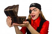 picture of pirate girl  - Pirate girl holding chest box isolated on white - JPG