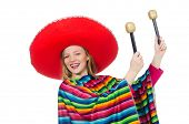 picture of maracas  - Pretty girl in mexican poncho shaking maracas isolated on white - JPG