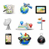 image of gps  - Realistic gps route search and navigation icons set isolated vector illustration - JPG