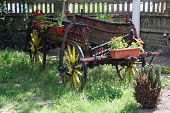 stock photo of wagon wheel  - Vintage style horse wagon - JPG