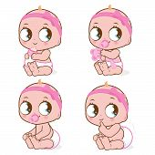 picture of pooping  - Vector Illustration of a cute baby girl drinking milk - JPG