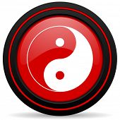 picture of ying yang  - ying yang red glossy web icon  - JPG