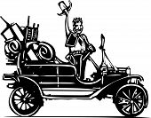 image of junk  - Woodcut style expressionist image of a wild west sheriff in a junk filled vintage car - JPG