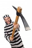 picture of inmate  - Prison inmate with axe isolated on white - JPG