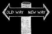 Постер, плакат: Opposite Arrows With Old Way Versus New Way