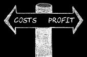 picture of opposites  - Opposite arrows with Costs versus Profit. Hand drawing with chalk on blackboard. Choice conceptual image - JPG