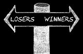 foto of opposites  - Opposite arrows with Losers versus Winners. Hand drawing with chalk on blackboard. Choice conceptual image - JPG