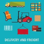 image of wooden crate  - Delivery and freight flat infographic with truck - JPG