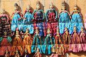 image of rajasthani  - Display of Rajasthani handicraft dolls near Patawon - JPG