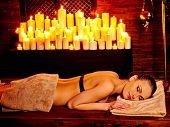 image of panchakarma  - Young woman waiting oil spa treatment - JPG