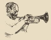 foto of trumpets  - JAZZ Man Playing the Trumpet  hand drawn - JPG