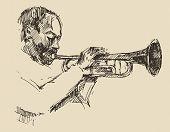 pic of single man  - JAZZ Man Playing the Trumpet  hand drawn - JPG