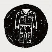 stock photo of overalls  - Overalls Doodle - JPG