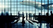 stock photo of ling  - Business Travel Handshake Commuter Terminal Airport Concept - JPG