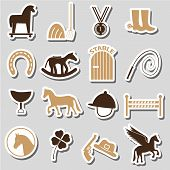picture of winged-horse  - brown simple horse theme stickers icons set eps10 - JPG