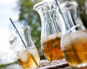 picture of iced-tea  - Ice tea with mint leaves - JPG