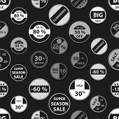 stock photo of grayscale  - sale grayscale icons set for discount shop seamless pattern eps10 - JPG