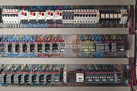 stock photo of electric station  - Electrical panel at a assembly line factory - JPG