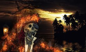 picture of pirates  - Pirate skeleton in the caribbeans  - JPG