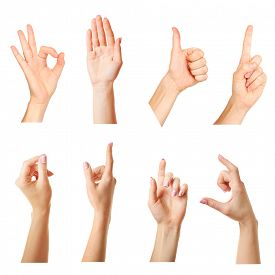 stock photo of nonverbal  - Collage of  hands showing different gestures - JPG