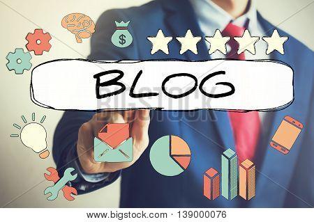 Businessman Touching Word Blog On Virtual Screen