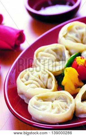 Korean snack steam dumplings