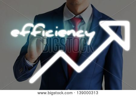Businessman Drawing Efficiency And Upward Graph Arrows Forward
