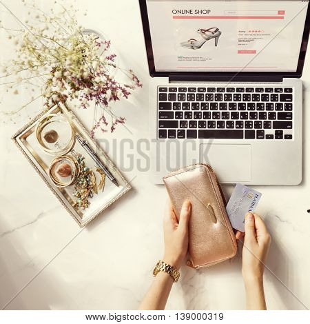 Online Purchase Credit Card Wallet Flower Decor Concept