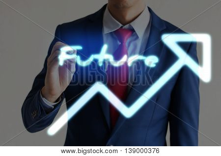 Businessman Drawing Future And Upward Graph Arrows Forward