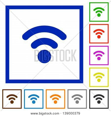 Set of color square framed Radio signal flat icons