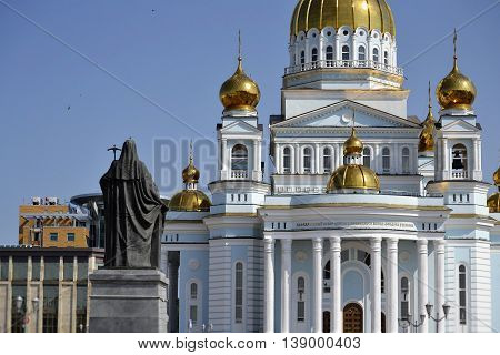 view from the public monument of Patriarch Nikon in the Cathedral of St. Theodore Ushakov in the capital of Mordovia, Saransk, Russia