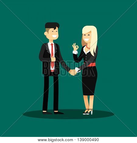 Business woman and man of transaction, in black costume vector illustration. Office staff, isolated characters girl happy face, people success, manager and employee. Business concept in flat.
