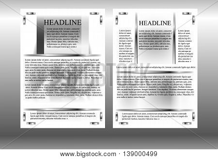 brochure template with a blurred image of gears metal frames in black and white monochrome.