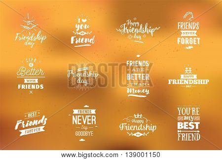 Happy Friendship day vector typographic design. Inspirational quotes about friendship. Usable as greeting cards, posters, clothing, t-shirt for your friends.