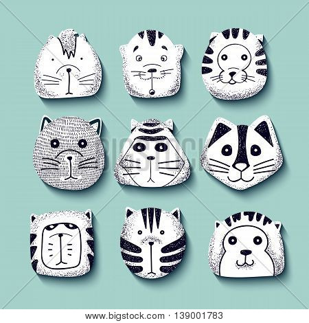 Cats set of cute doodle. Kids characters animals. Cat in style of retro engraving vector. Stylish muzzle. Emotions illustration design vector